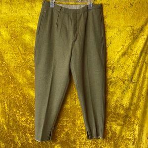 Vintage Handmade Army Green Wool Trouser Pant sz32